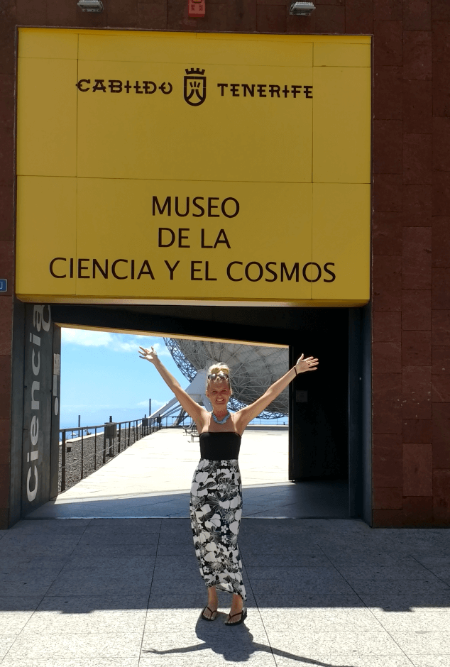 Nicky stood in front of the entrance to the Museum of Science and The Cosmos, Tenerife