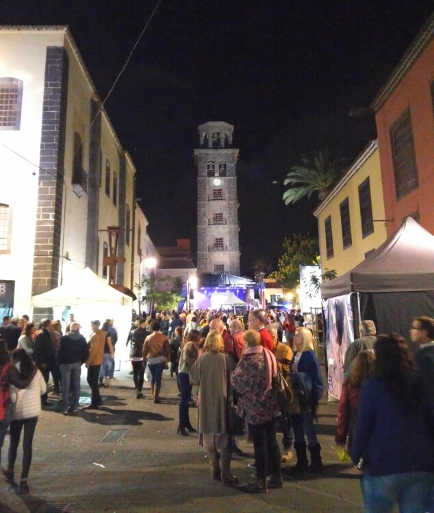 The lively streets during La Noche en Blanco La Laguna, Tenerife