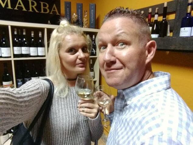 Ian and Nicky in a wine bar at La Noche en Blanco, La Laguna in Tenerife