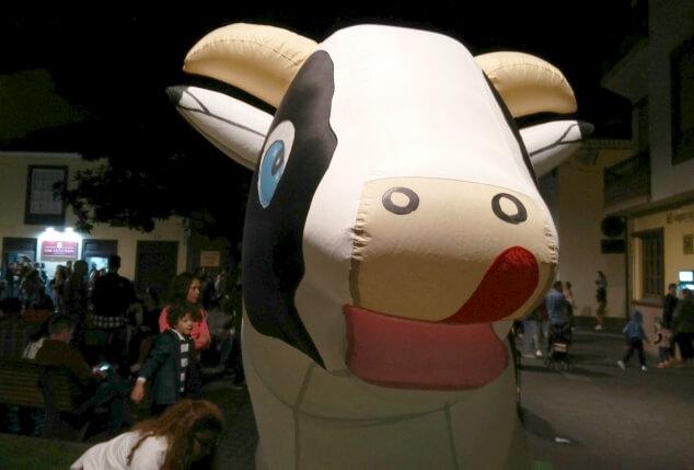 A very happy inflatable cow at La Noche en Blanco, La Laguna in Tenerife