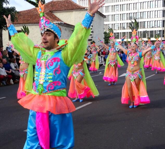 Colourful dancers performing at the Santa Cruz carnival
