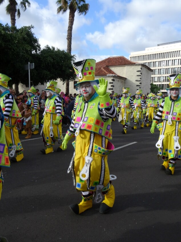 A group of clowns in the Santa Cruz carnival