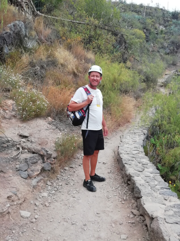 Man stood on a path on the Barranco del Infierno walk