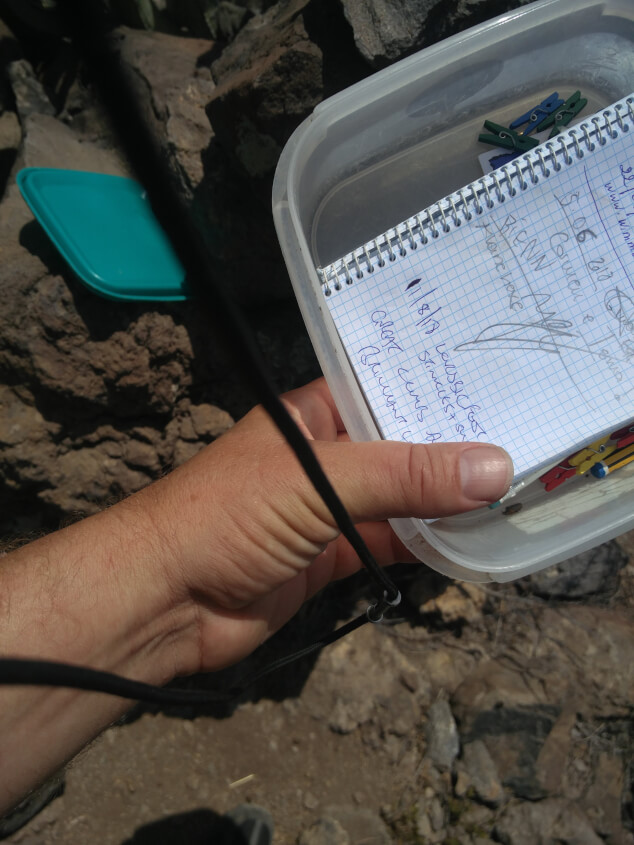 Man's arm holding an open plastic box with a notebook inside found while geocaching in Tenerife