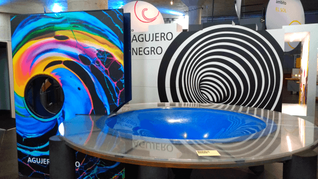 A colourful display explaining a clever science trick at the Museum of Science and The Cosmos, Tenerife