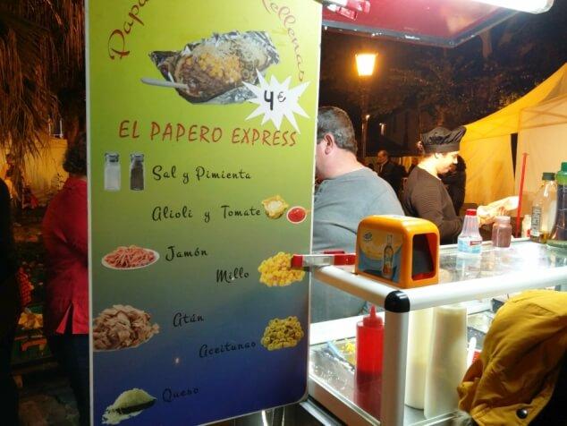 Price list for the jacket potato kiosk at La Noche en Blanco, La Laguna in Tenerife