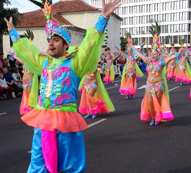 Colourful dancers performing at the Santa Cruz carnival