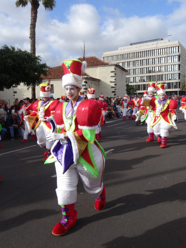 Colourful clowns in the Santa Cruz Carnival parade in Tenerife